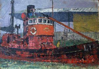 Single fishing boat in Lowestoft harbour